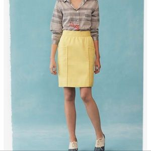 anthropologie cartonnier yellow pencil skirt, 8